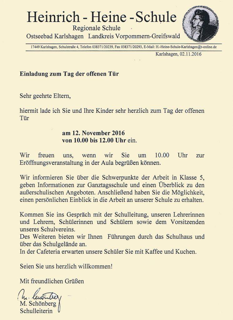 """einladung zum """"tag der offenen tür"""" 2016 – heinrich-heine-schule, Einladung"""